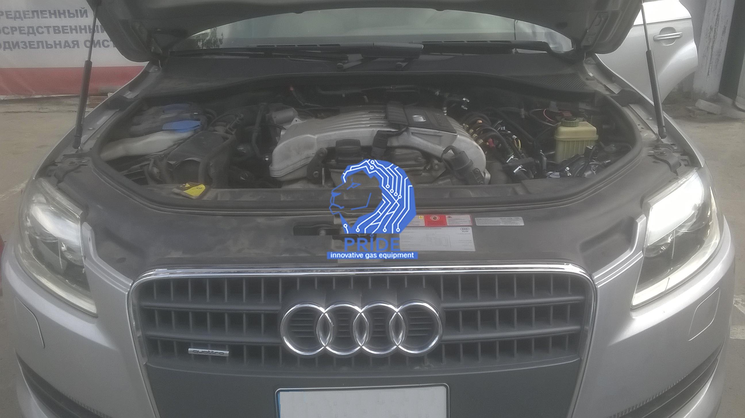 Двигатель автомобиля Audi Q7 после установки ГБО